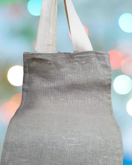 Bolsa grande de retales de lino y hecha a mano