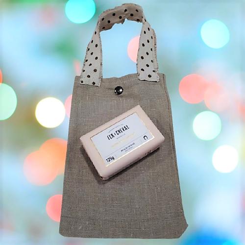 Bolsa pequeña lisa de retales de lino hecha a mano