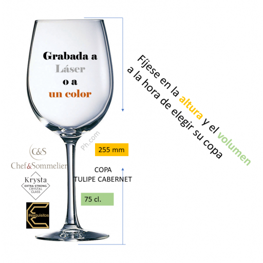 COPA VINO GRABADA. TULIPE CABERNET 75 CL.  [2]