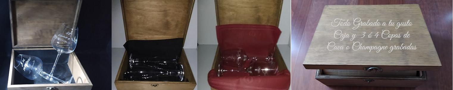 Copas de vino personalizadas y cuberterías personalizadas en caja de madera