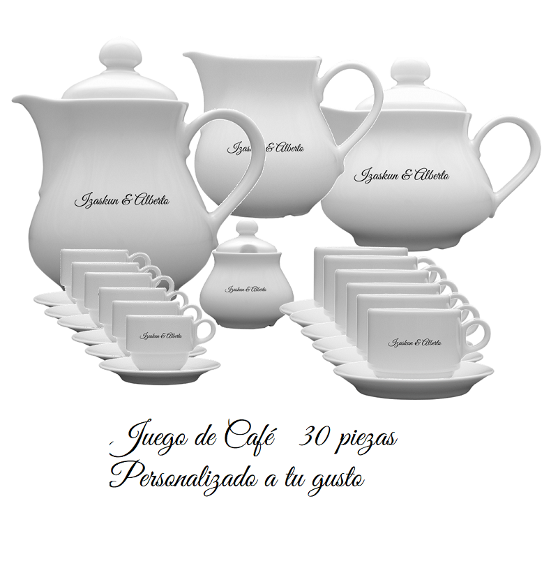 JUEGO DE CAFÉ PERSONALIZADO 30 PIEZAS. MOD. PH2