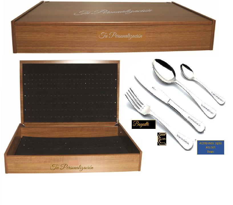 Cubertería personalizada en caja de madera para regalo