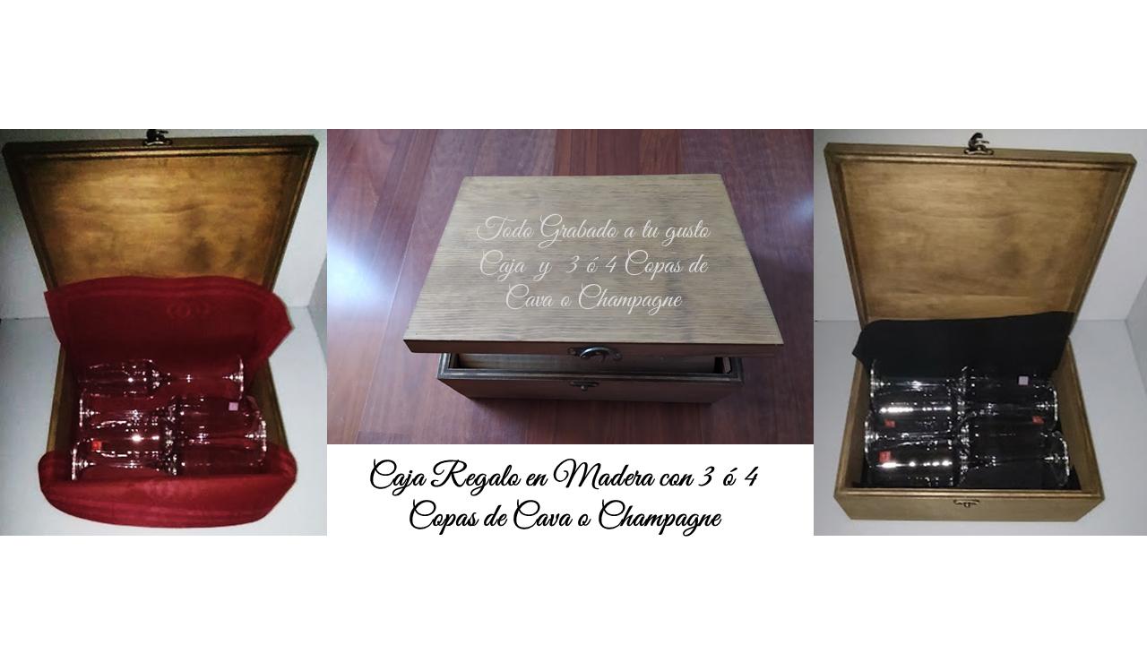 Copas de Champagne o Cava personalizadas en caja de regalo de madera