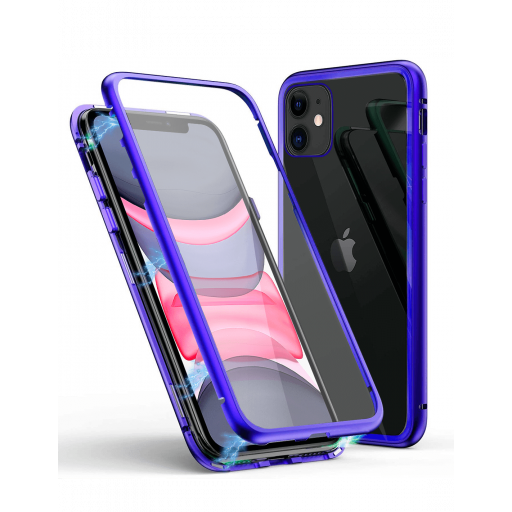 Apple iPhone 11 Funda Magnética Azul Con Templado Antiespía