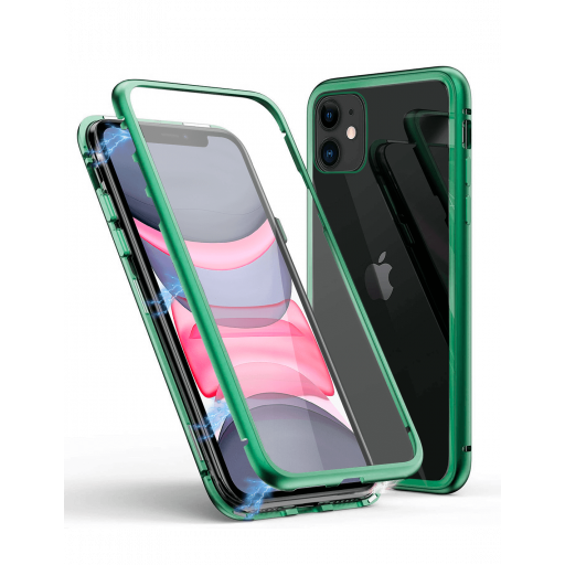 Apple iPhone 11 Funda Magnética Verde Con Templado Antiespía