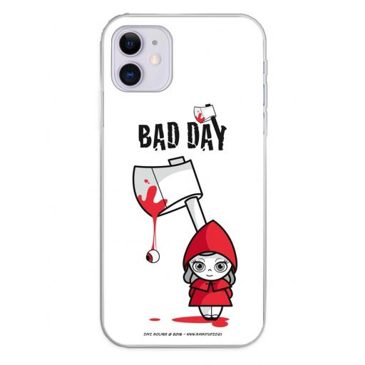 Apple iPhone 11 Funda Silicona Bad Day Red Girl