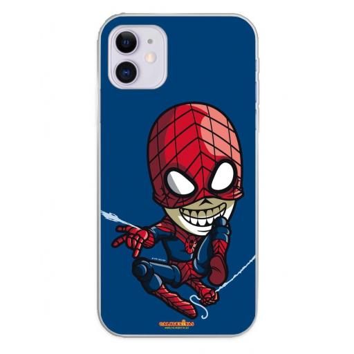 Apple iPhone 11 Funda Silicona Calaveritas Blue & Red