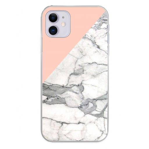Apple iPhone 11 Funda Silicona Fondos Mármol Rosa