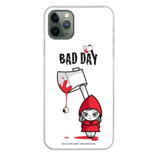 Apple iPhone 11 Pro Max Funda Silicona Bad Day Red Girl