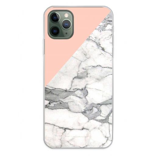 Apple iPhone 11 Pro Max Funda Silicona Fondos Mármol Rosa