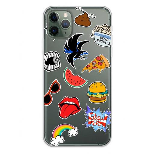 Apple iPhone 11 Pro Max Funda Silicona Fondos Stickers Transparente