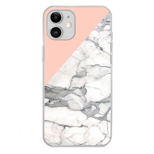 Apple iPhone 12 / 12 Pro Funda Silicona Fondos Mármol Rosa