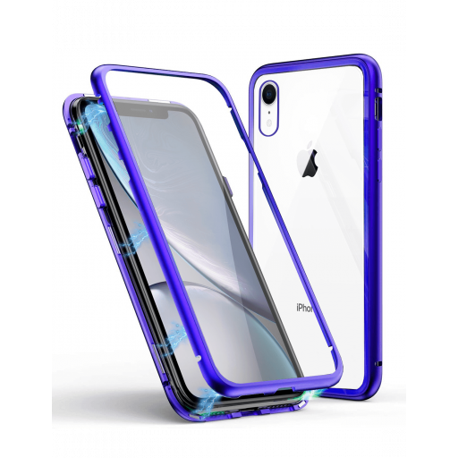 Apple iPhone XR Funda Magnética Azul Con Templado Antiespía