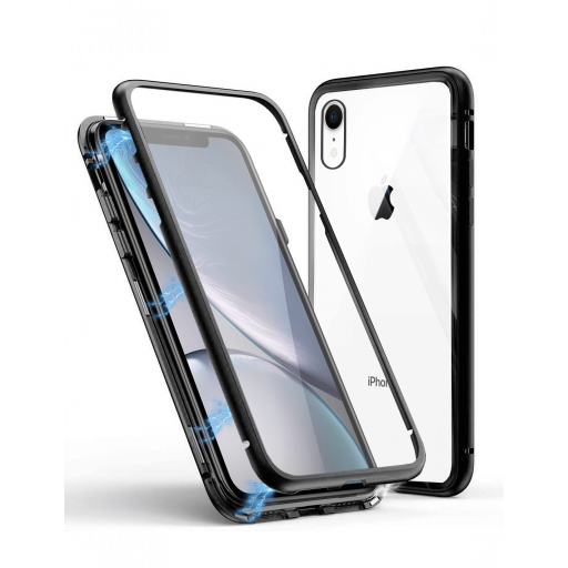 Apple iPhone XR Funda Magnética Negra Con Templado Antiespía