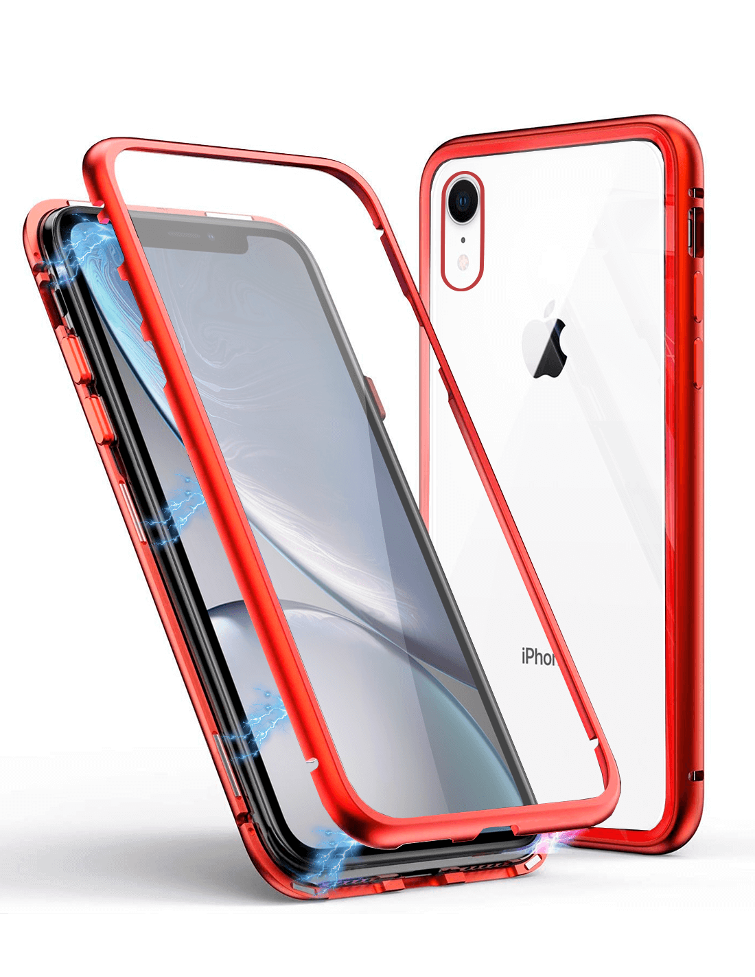 Apple iPhone XR Funda Magnética Roja Con Templado Antiespía