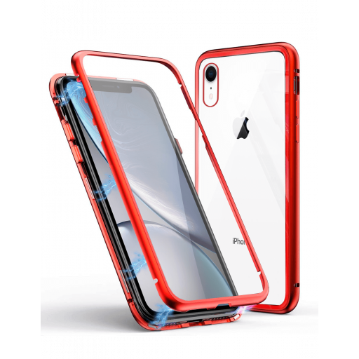 Apple iPhone XR Funda Magnética Roja Con Templado Antiespía [0]