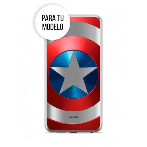 Apple iPhone XR - Funda Marvel Capitán América Silicona Escudo Luxury Chrome Plateado