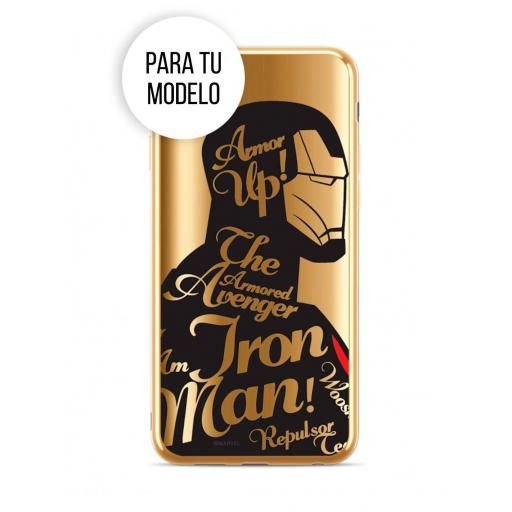 Apple iPhone XR - Funda Marvel Ironman Letras Silicona Luxury Chrome Dorado