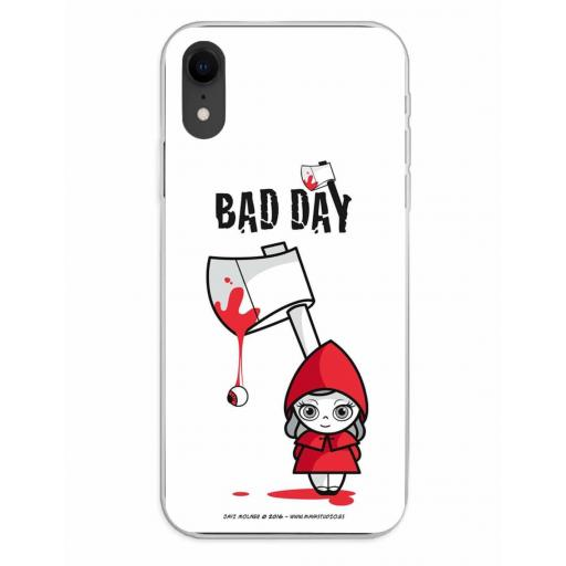 Apple iPhone XR Funda Silicona Bad Day Red Girl