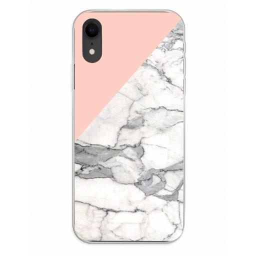Apple iPhone XR Funda Silicona Fondos Mármol Rosa