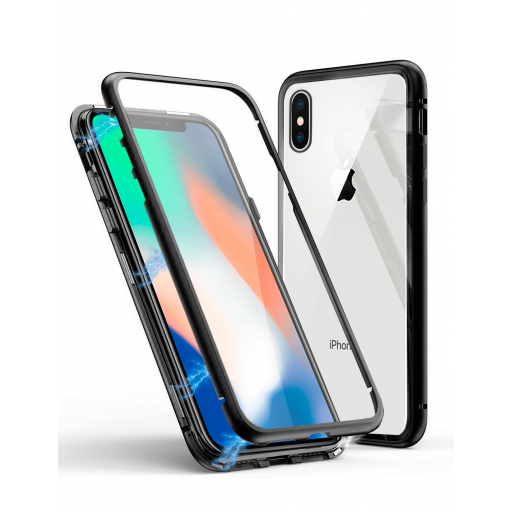 Apple iPhone XS Max Funda Magnética Negra Con Templado Antiespía