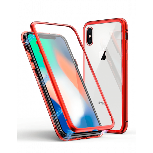 Apple iPhone XS Max Funda Magnética Roja Con Templado Antiespía