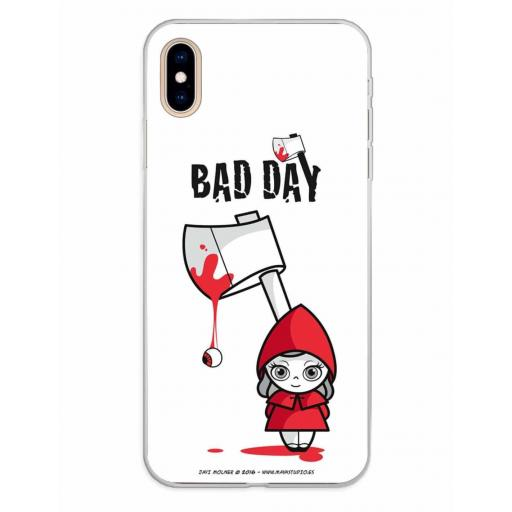 Apple iPhone XS Max Funda Silicona Bad Day Red Girl