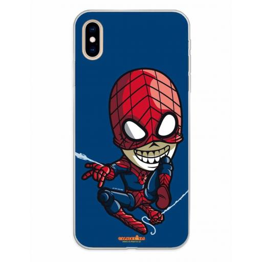 Apple iPhone XS Max Funda Silicona Calaveritas Blue & Red