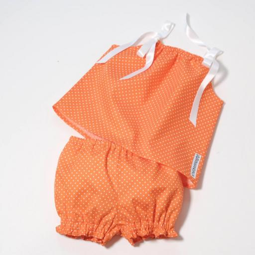 Ensemble bébé fille - Orange à pois