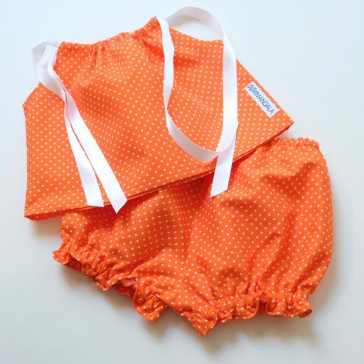 Ensemblebébé fille - Orange à pois [1]
