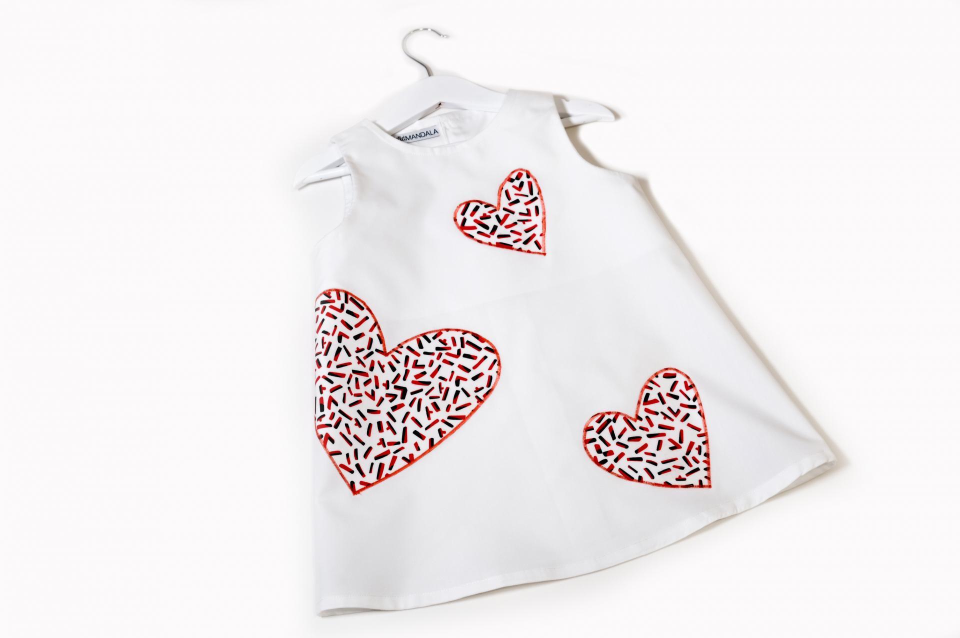 Robe fille - Cœurs tricolores