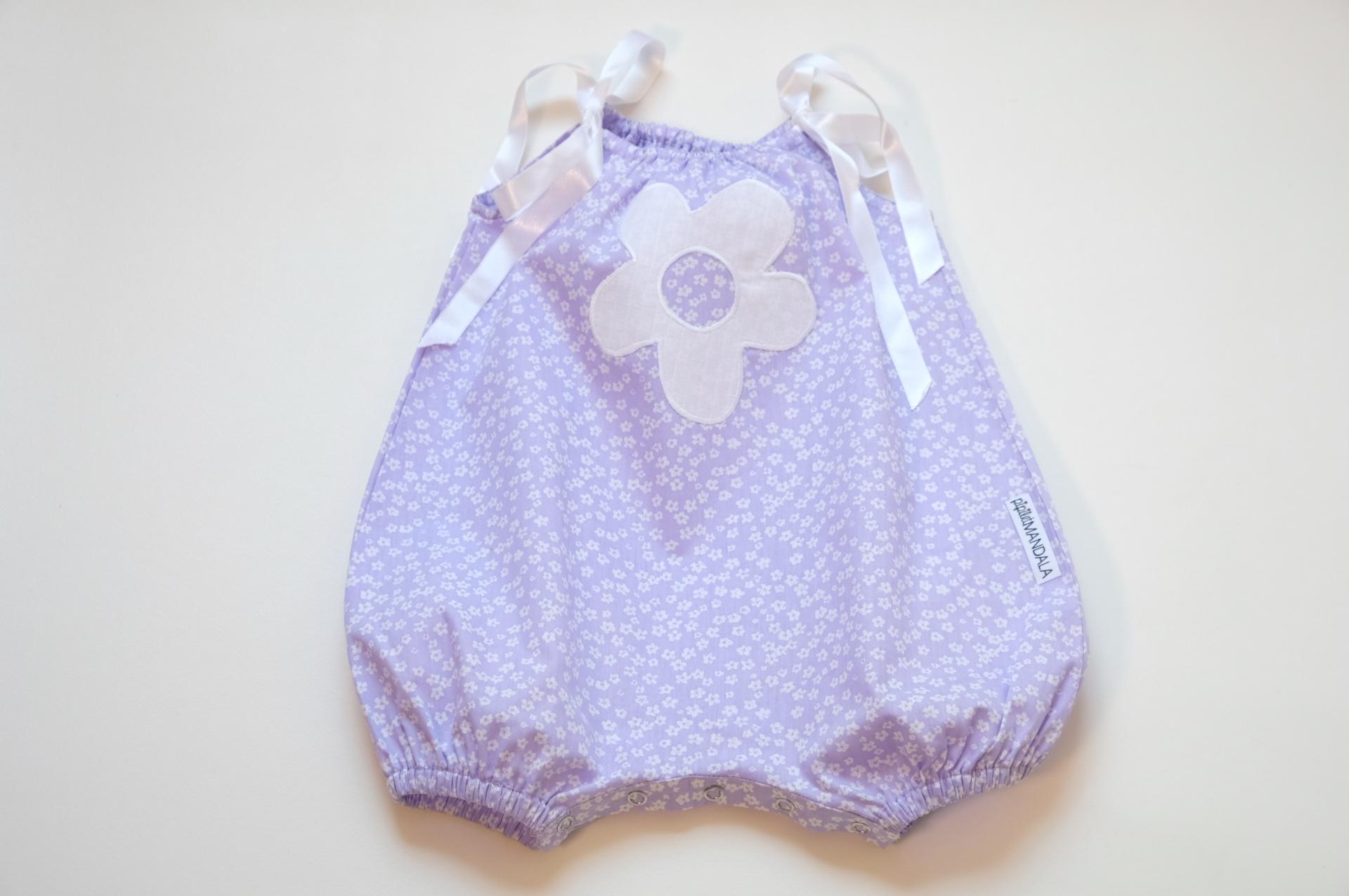 Barboteuse bébé - Mauve à fleur