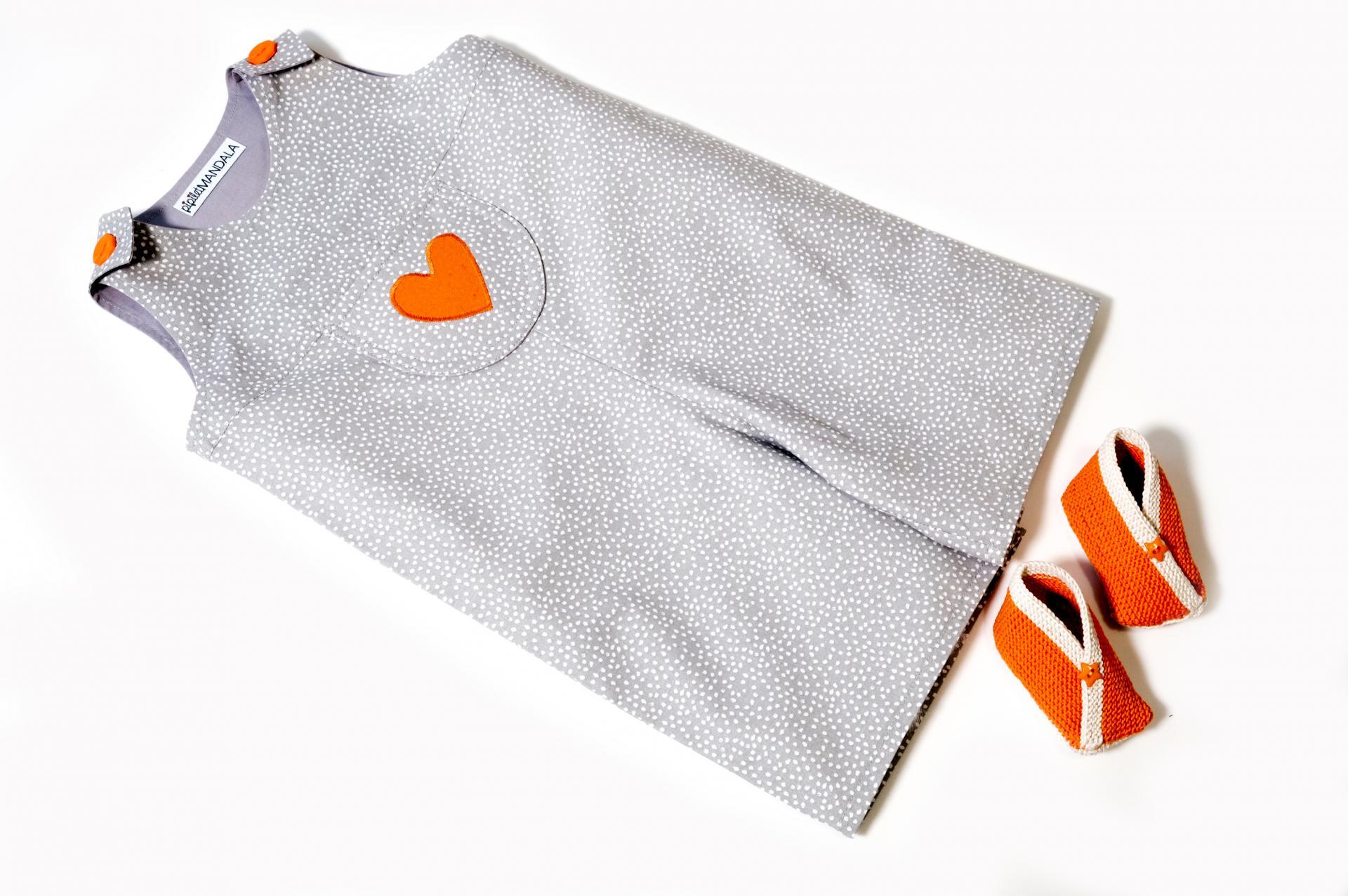 Ensemble bébé fille - Cœur orange