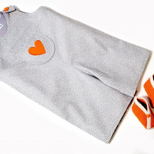Salopette bébé - Cœur orange