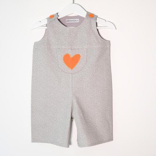 Salopette bébé - Cœur orange [1]