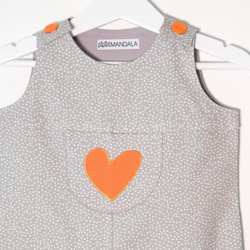 Salopette bébé - Cœur orange [3]