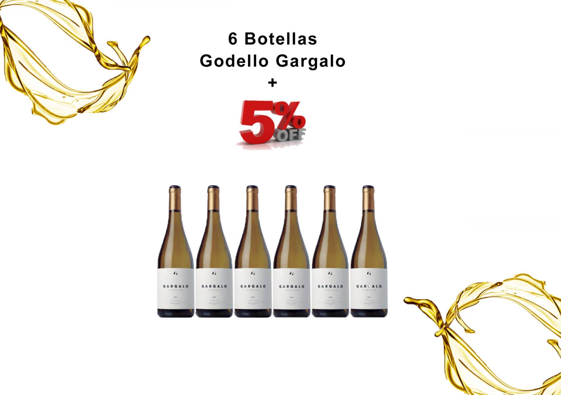 6 Botellas Vino Blanco Godello Gargalo 5% de DESCUENTO