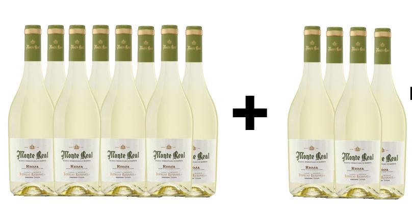 8 Botellas de Vino Blanco MONTE REAL + 4 de REGALO
