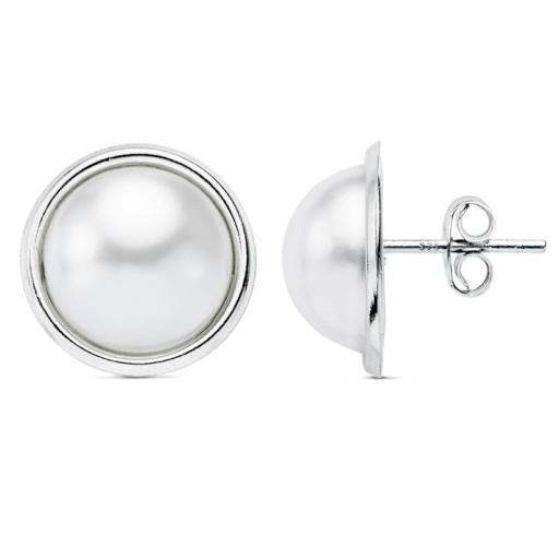 Pendientes plata 1/2 perla de 14mm.