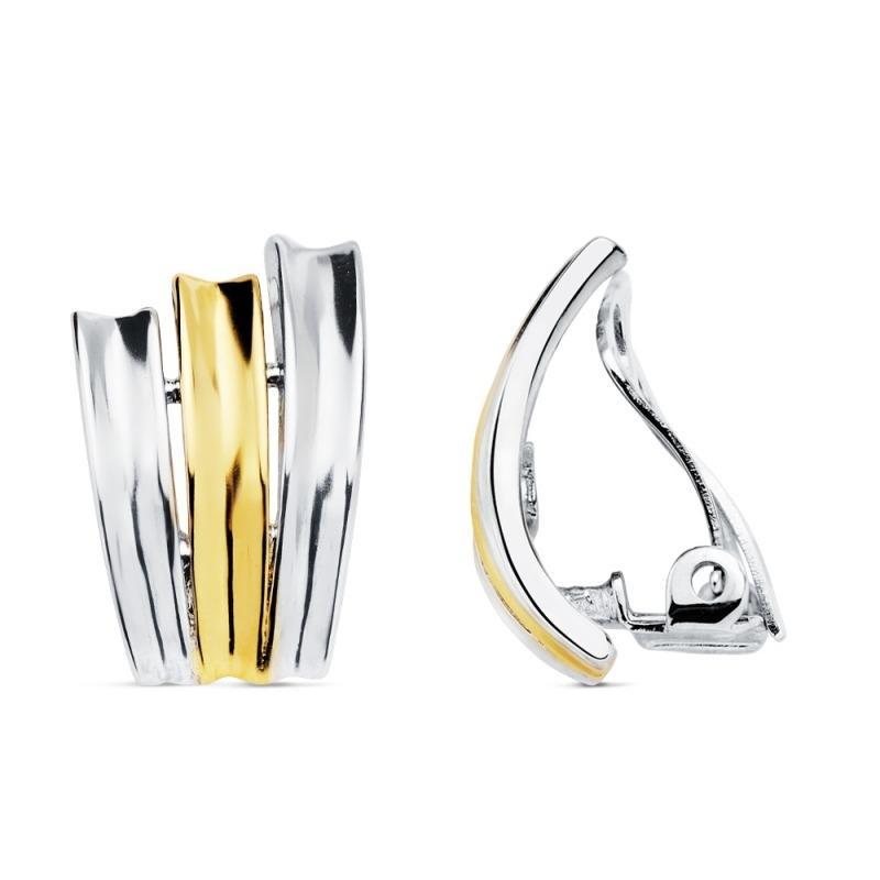 Pendientes clip bicolor