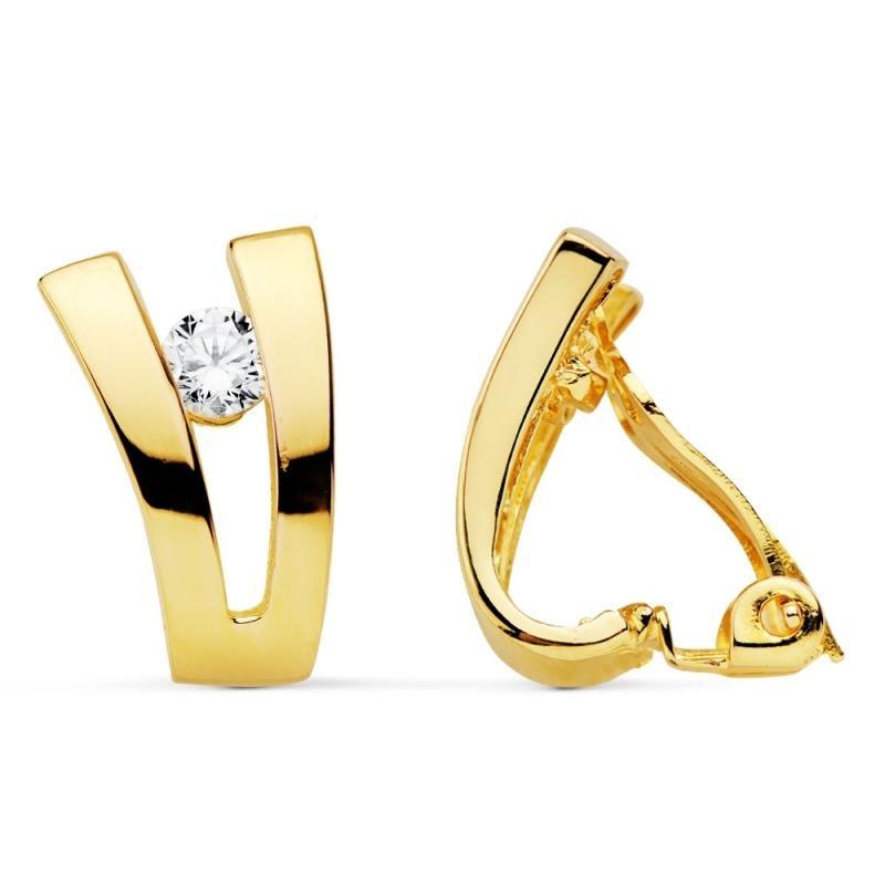 Pendientes clip chapado oro