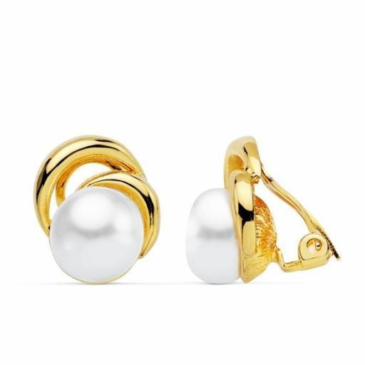 Pendientes clip chapado oro perla cultivada