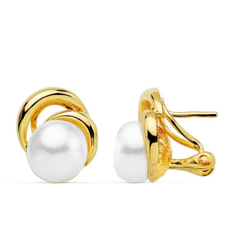 Pendientes omega chapado oro perla cultivada