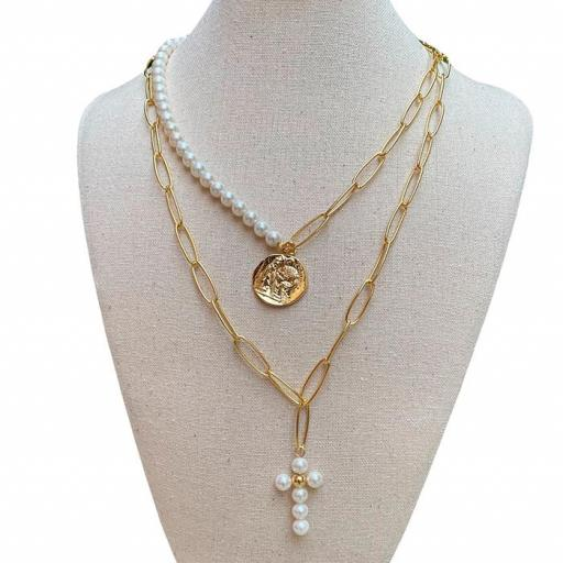 Collar Made in Mare - Cruz Blanca + Medallón (Blanco)