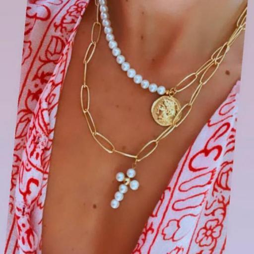 Collar Made in Mare - Cruz Blanca + Medallón (Blanco) [1]