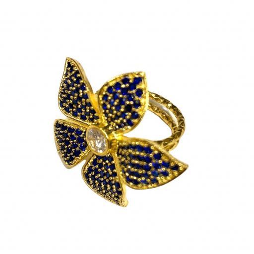 Anillo estilo otomano - Flor azul