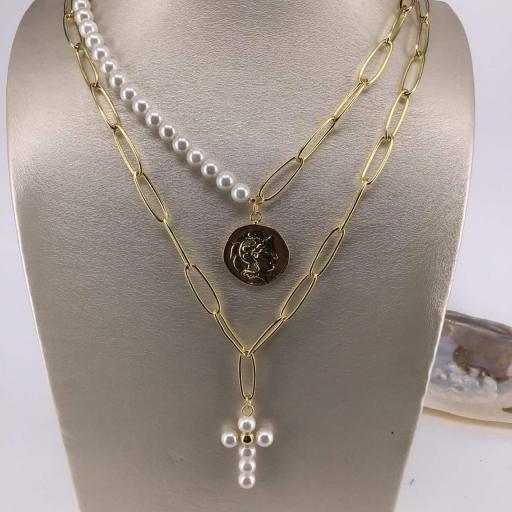 Collar Made in Mare - Cruz Blanca + Medallón (Blanco) [2]