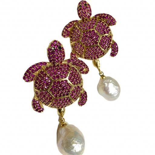 Pendientes estilo otomano - Tortuga violeta