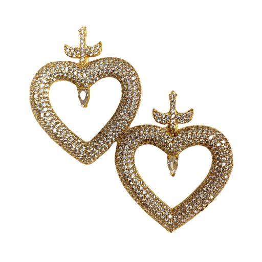 Pendientes estilo otomano - Corazón dorados