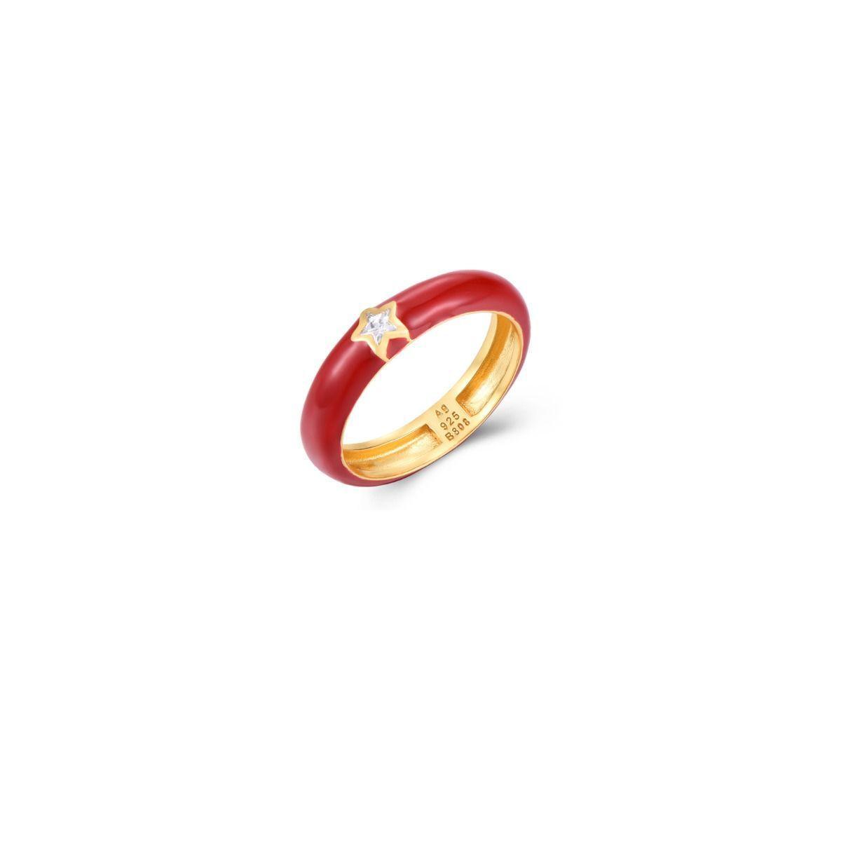 Anillo de Plata de Ley 925 - Rojo